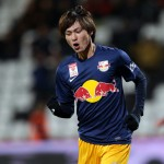 """ì–ì'ñŽÀ/Takumi Minamino (Salzburg), MARCH 4, 2015 - Football / Soccer : Takumi Minamino of Salzburg celebrates during the Austrian ""Bundesliga"" match between FC Admira Wacker 1-4 FC Red Bull Salzburg at BSFZ-Arena in Maria Enzersdorf, Austria. (Photo by AFLO)"